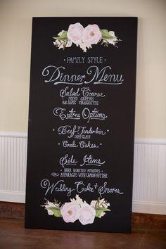 Sweet family style menu: http://www.stylemepretty.com/north-carolina-weddings/wilmington-nc/2015/10/02/classic-black-tie-north-carolina-coast-wedding/ | Photography: Theo Milo - http://theomilophotography.com/