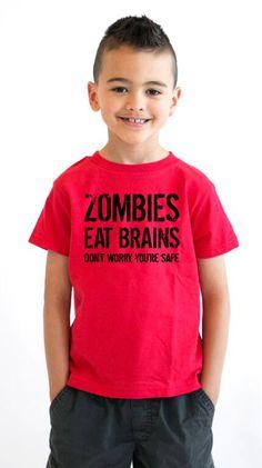 Youth Zombies Eat Brains T-Shirt zombie apocalypse, call, walking, halloween costume, dead, duty, gift, children, kids, boys, girls S-XL