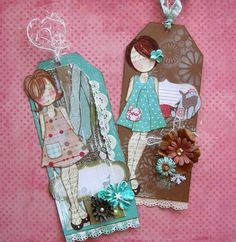 Darling Christmas Tag Class with Julie! Prima Paper Dolls, Prima Doll Stamps, Card Tags, Gift Tags, Envelope Diy, Envelopes, Paper Crafts, Diy Crafts, Christmas Tag