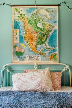turquoise walls, map, flowers and paisley