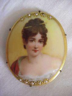 Antique Victorian Hand Painted Lady Recamier Portrait Painting Porcelain Pin