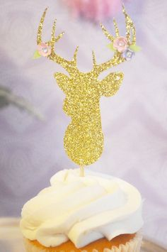 Gold deer cupcake from Galmorous Boho Birthday Party at Kara's Party Ideas. See more at karaspartyideas.com!