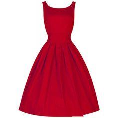 Rotita Sleeveless Pleated Red Vintage Summer Dress