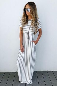 Share to save on your order instantly! Stripe On Maxi: Grey/Ivory Spring Summer Fashion, Spring Outfits, Summer Wear, Modest Dresses, Casual Dresses, Maxi Dresses, Modest Fashion, Fashion Dresses, Look Fashion