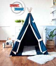 Navy blue teepee childrens teepee kids teepee play tent Canvas Teepee Tent, Teepee Play Tent, Teepee Kids, Childrens Teepee, Wooden Poles, Blue Canvas, Large Homes, Kidsroom, Play Houses