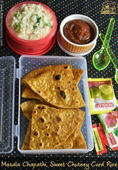 Travel Food Recipes Idea 6 - Masala Chapathi, Dates Sweet Chutney and Curd Rice