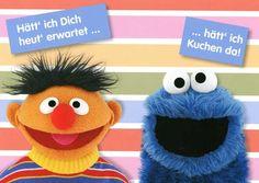 Postkarte Sesamstrasse Ernie und Krümelmonster – Hätt ich Dich heut erwartet … hätt ich Kuchen da! Postkarten Lustige Sprüche