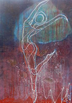 Danseres in een landschap. Acryl mixed media op canvas. 100/140. www.ingridartpaintings.nl