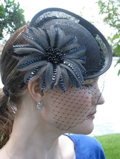 Black 1940's style Fascinator Hat with Sequin Flower and beaded trim, for weddings, parties, evening, holiday, festive, special occasions. $85.00, via Etsy.