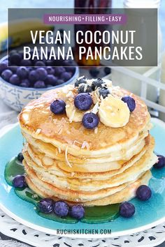 These thick and fluffy homemade Vegan Coconut Banana pancakes are nourishing, filling and super easy to make. For a hint of sweetness, drizzle your pancakes with maple syrup, and they will fuel you through your morning! Vegetarian Breakfast Recipes, Vegetarian Dinners, Best Vegan Recipes, Banana Pancakes, Banana Fritters