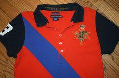 Ralph Lauren Skinny Polo Equestrian orange Shirt Womens XL 1st Division Regiment #RalphLauren #PoloShirt