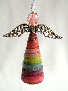 Angel Ornament Paper Bead B405 by ArtsyAllie on Etsy
