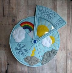 Today's Weather Wheel, Teach Weather to Children, For Preschool, Home School, Embroidered Acrylic Fe - - Diy Busy Books, Diy Quiet Books, Baby Quiet Book, Felt Quiet Books, Quiet Book Templates, Quiet Book Patterns, Baby Crafts, Felt Crafts, Diy For Kids
