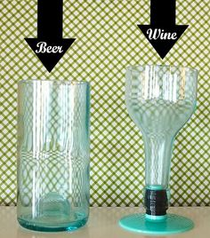 Turn an old wine bottle into a wine glass and beer glass with the Kinkajou Bottle Cutter. This thing is AWESOME! www.blitsycrafts.com