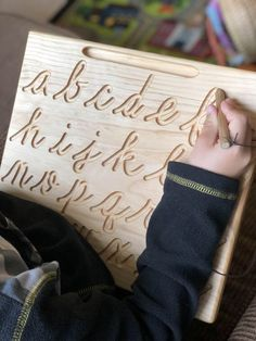 Cursive board measures x Letter are approximately tall Hand sanded smooth and Naturally conditioned. Comes with an attached stylus *Please select if you would like Uppercase ONLY, Lowercase ONLY or reversible Toddler Learning Activities, Montessori Activities, Learning Toys, Infant Activities, Teaching Kids, Teaching Resources, Baby Play, Baby Toys, Kids Toys
