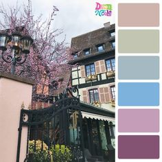 Colmar France in Color Palettes. I'm sharing my day trip to the Colmar Easter Market with you in the form of color palettes created from the photos I took in this beautiful French town. Pastel Colour Palette, Fall Color Palette, Colour Pallette, Pastel Colors, Paint Colors, Color Trends, Color Combos, Color Schemes, Home Decor Colors