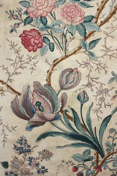Glorious antique French mid century Indienne / arborescent design printed chintz fabric ~ amazing floral and swaying branch design ~ Motifs Textiles, Vintage Textiles, Textile Prints, Textile Patterns, Vintage Prints, Print Patterns, Floral Prints, Textile Design, Look Wallpaper