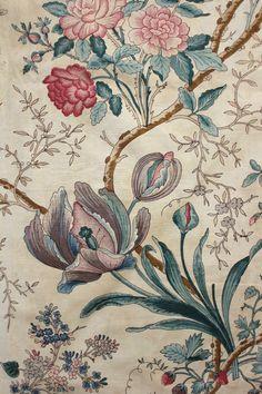 Antique French Block Printed Indienne Glazed Fabric c1850 Arborescent Design | eBay