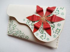 White leather clutch with red flower Red flower by spiculdegrau