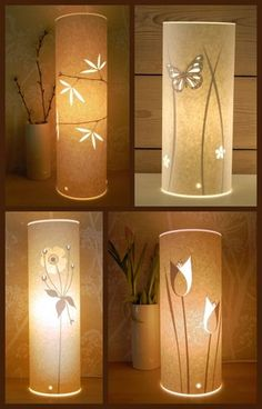 side door papercut lamps by hannah nunn picture on VisualizeUs Paper Lampshade, Lampshades, Lamp Design, Diy Design, Origami, Pvc Pipe Crafts, Polymer Clay Embroidery, Egg Carton Crafts, Table Lamps For Bedroom