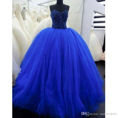 Royal Blue Ball Gown Tulle Quinceanera Dresses 2016 Sweetheart Sleeveless Beaded Crystals Puffy Prom Gowns Sweet 16 Gowns Banquet Dresses Cheap Ball Gowns From Ourfreedom, $134.78| Dhgate.Com
