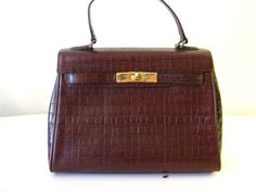 CASA LOPEZ Alligator Embossed Brown Kelly by vintagefrenchchic, $75.00