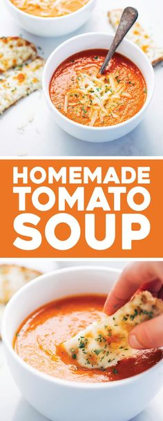 Simple Homemade Tomato Soup with carrots, onions, garlic, tomatoes, broth, and bacon for deliciously rich flavor. Extremely easy to make! #tomato #soup #tomatosoup #bacon #homemade #comfortfood | pinchofyum.com