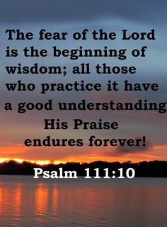 「Psalm King James Version (KJV) The fear of the Lord is the beginning of wisdom: a good understanding have all they that do his commandments: his praise endureth for ever. Identity In Christ, Fear Of The Lord, Some Quotes, Holy Spirit, Christian Quotes, Proverbs, Psalms, How To Remove, Bible