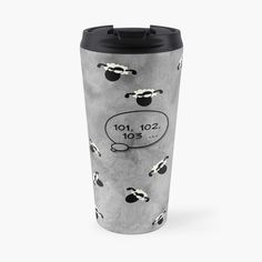 -  Features wraparound prints.   -  Top rack dishwasher safe. -  Insulated stainless steel with removable lid.   -  Mug holds 15oz (443ml). . . . #travelmug  #drinkingmug  #coffeemug   #stainlesssteelmug  #stainlesssteeltravelmug  #countingsheep   #sheep  #insomnia  #printedtravelmug  #bitsofeverywhere