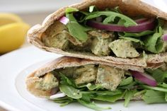 We are on day two out of three in our pesto week! This chicken salad pita is not only very healthy for you, it is packed with tons of flavor. The chicken is juicy and pesto-y (word?), the red onion…