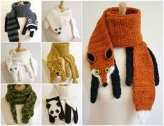 Crochet Patterns  Animal Scarves - Racoon Crochet Scarf, Seal Crochet Scarf, Cat Crochet Scarf, Lion Crochet Scarf, Snake Crochet Scarf, Panda Crochet Scarf, Fox Crochet Scarf