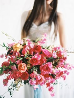 Full hot pink bouquet: http://www.stylemepretty.com/2015/04/17/inspired-by-the-mediterranean-color-palette/   Photography: Ashley Sawtelle - http://ashleysawtelle.com/