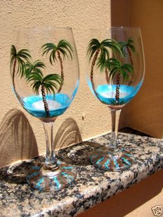 Hand-Painted-Tropical-Beach-Palm-Tree-Wine-Glasses-NEW-Design