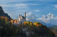 #Panorama Neuschwanstein #Castle Web by naumenkophotographer on @creativemarket