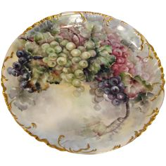 "French Haviland Limoges 12 ½"" Charger Wall Plaque Hand Painted Grapes c 1893 - 1930"