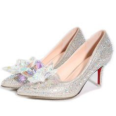 (37.11$)  Know more - http://ai6hl.worlditems.win/all/product.php?id=32594031312 - New Hot Silver/Gold Rhinestones Women Wedding Shoes High Heels Slip ON Cinderella Crystal Shoes Pointed Toe Women Pumps TS