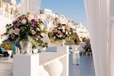Sumptuous arrangements presented with a modern Greek twist Dana Villas, Greek, Presents, Table Decorations, Floral, Modern, Wedding, Inspiration, Home Decor