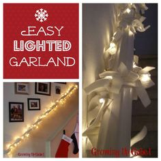 Easy Lighted Garland made with a strand of white lights and fabric! #christmas #crafts