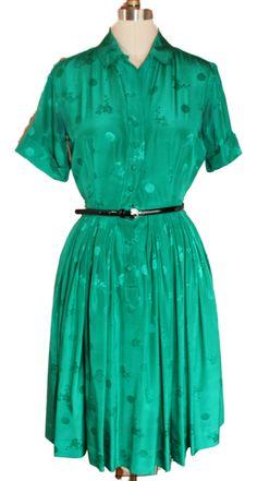 1960s Vintage Emerald Green Silk Party Dress von RewindClothing
