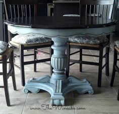 Craigslist Table After.  Espresso stain with Annie Sloan Chalk Paint. Louis Blue with Dark Wax.