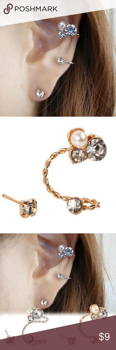 Trendy ! 2 pcs Earrings. 2 Pcs Elegant pearl clip earrings. As seen in second picture. Already lowered ! Jewelry Earrings