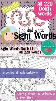 A fun activity to practice sight Dolch words. It is a valentine themed activity yet it can be used throughout the year as heats are always in fashion :)  Need just one level - all of them can be find separately in out TpT Store.  $