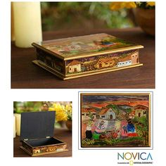 Novica Painted Glass 'Flower Family' Jewelry Box