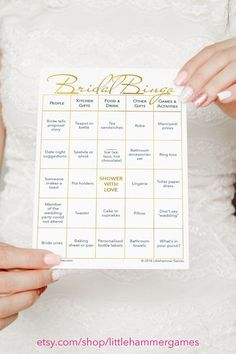 Shower activity for a fun bridal shower: Bridal Bingo printable game with 10 pre-filled cards in rose gold Wedding Bingo, Bridal Bingo, Bridal Games, Wedding Shower Games, Wedding Ideas, Wedding Invitations, Invitations Online, Bridal Shower Activities, Bridal Shower Planning