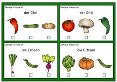 Deutsch lernen: Aufgabenkarten Nahrungsmittel