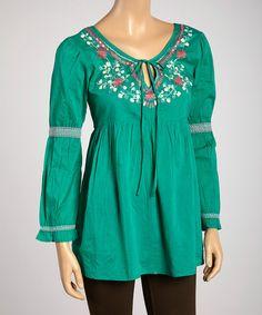 187e782c11 This Shabri Fashions Green  amp  Fuchsia Floral Embroidered Three-Quarter  Sleeve Tunic by Shabri