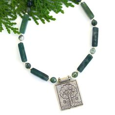 """The """"Forest Wisdom"""" handmade necklace was created with a Thai Hill Tribes fine silver Tree of Life pendant, green moss agate and sterling silver - a beautiful necklace for a tree lover. @shadowdog #bmecountdown"""