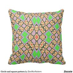 Circle and square pattern throw pillow