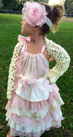 d5a707906dd Flower Girl Bolero Off White Cream Crochet Long by LeenGreenBean