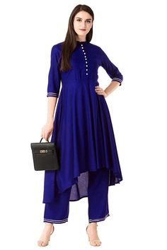 Rayon Kurta Set in Blue Embroidery On Kurtis, Kurti Embroidery Design, Top Colour, Color Blue, High Low Top, Blue Tops, Frocks, Digital, Long Frock